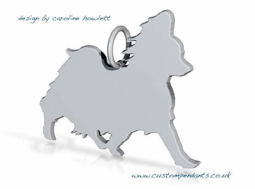 Papillon trotting Charm silhouette solid sterling silver Handmade in the Uk